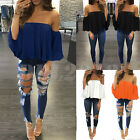 Kyпить US Women Off Shoulder Top Long Sleeve Pullover Casual Blouse Summer Loose Shirt на еВаy.соm