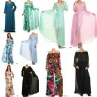MAXI DRESS HAWAIIAN CRUISE Faux Wrap Sweep Chiffon Stripped Floral TRAVEL S XL