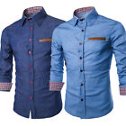 Fashion Mens Casual Stylish Slim Fit Long Sleeve Casual Formal Dress Shirt Tops