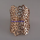 New Unique Rose Gold GP Hollowed-out Flower Pattern Cocktail Ring VR187A