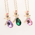 Woman Necklace Rose Angel Tears Shape Crystal Pendant Necklace Gorgeous Roses