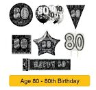 AGE 80 - Happy 80th Birthday BLACK & SILVER GLITZ -Party Range, Banners & Napkin