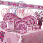 AGE 100 - Happy 100th Birthday PINK GLITZ - Party Range, Banners & Decorations
