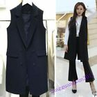 Ladies Stylish Vests Coat Blazers Formal Sleeveless Mid Long Style Business Tops
