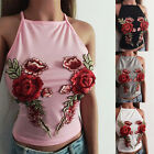 Summer Women Embroidered Casual Tank Tops Vest Blouse Sleeveless Crop Top Shirt