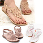 New Women Boho Clip Toe Sandals Casual Fancy Summer Flats Beach Shoes Flip Flops