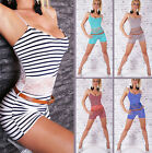 Womens Stretch Playsuit Beach Holiday Jumpsuit Lace Back Camisole Vest Top 8/10