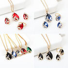 3Pcs Women Necklace Earrings Ring Jewelry Set Diamante Chain Crystal Pendant