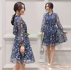 Ladies Spring Summer Long Sleeve Chiffon Floral Skirt Slim Office Party Dress