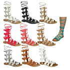 Women Ladies Gladiator Style Strapy Lace Up Mid Calf Flat Sandals Cut Out Shoes