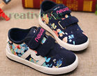 Fashion Kids Toddlers Girls Floral Rural Style Canvas Sneaker Casual Shoes New