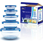 5Pcs GLASS BOWL SET FOOD STORAGE CONTAINER with Lids 4Colours Available