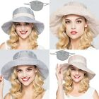 Ladies Wide Brim Soft Striped Sun Cap Hat Outdoor Anti UV Beach Headwear NEW