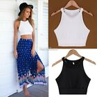 New Lady Women's Fashion Sleeveless O-Neck Sexy Slim Casual Solid Crop Top SH01