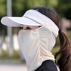 Lady Summer Side Buckle Wide Brim Sun Hat Visor Baseball Cap with Full Face Mask