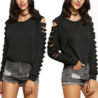 Women's Long Sleeve Ripped Broken-Hole Round Neck Clubwear Tops Blouse Pullover