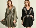 S-L Umgee Boho Embroidered Flowy Kimono Sleeve Lace Up Hippie Tunic Dress Black