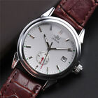 Luxury Men's White Dial Automatic Mechanical Date Leather Wrist Watch