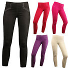 Ladies Coloured Diamante Denim Leggings Stretchy Jeggings Skinny Fit All Sizes