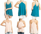 Womens Misses Wear two ways reversable Lace up Cami Tank Top Shirt Blouse