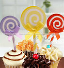6Pcs Lolipop Party Birthday Cake Cupcake Toppers Decoration Kids Cake Favors  S3