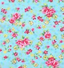 CANDY FLORAL 100% COTTON FABRIC TURQUOISE half metre / metre PINK ROSES