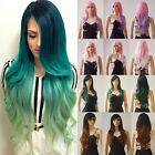 19-28 inch Heat Resistant Silky Synthetic Hair Wigs Ombre Two Tone Full Wigs ##
