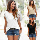Women Fashion Tassels Short Sleeve Loose T-Shirt Lady Summer Casual Tops Blouse