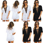 2017 Women Summer V-Neck Lace Up T-Shirt Casual Short Sleeve Loose Blouse Tops