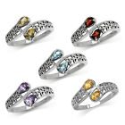 Genuine Gemstone 925 Sterling Silver Triquetra Celtic Knot Bypass Ring