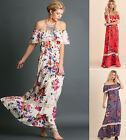 S M L UMGEE Romantic Off Shoulder Flowy Maxi BOHO Gypsy Bohemian Peasant Dress