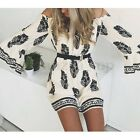 Boho Womens Bell Sleeve Floral Print Summer Beach Party Short Mini Shirt Dress