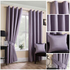 Luxury Mauve Satin Curtains Soft Touch Ring Top Eyelet Ready Made Modern Design