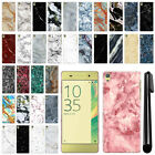 For Sony Xperia XA F3111 F3115 F3116 Marble Design HARD Back Case Cover + Pen
