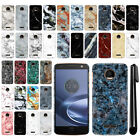 For Motorola Moto Z Force Droid Edition Marble Design HARD Back Case Cover + Pen