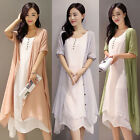 New Womens Boho Casual Cotton Linen Summer Loose Two Pieces A-line Shirt Dresses