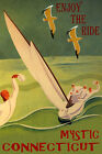 MYSTIC CONNECTICUT SAILING ENJOY THE RIDE SPORT SAIL BOAT VINTAGE POSTER REPRO