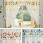 DAISY FLORAL EMBROIDERED COMPLETE WINDOW SETS EMBROIDERED KITCHEN CURTAINS