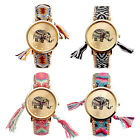 Vintage Fabric Braided Tassel Wrist Watch Quartz Ethnic Animal Elephant Pattern