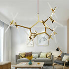 Modern Nordic Glass Tube Chandelier Ceiling Lamp 6 10 12 14 20 Heads Hot Sell