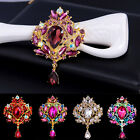12Colors Fashion Rhinestone Crystal Crown Flower Brooch Collar Dangle Breastpin