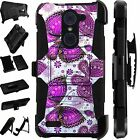 For Alcatel Huawei ZTE Phone Cover HolsterHybridCase PURPLE BUTTERFLY LuxGuard
