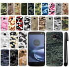 For Motorola Moto Z Force Droid Edition Camo Design HARD Back Case Cover + Pen