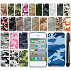For Apple iPod Touch 4 (4th Generation) Camo Design HARD Back Case Cover + Pen