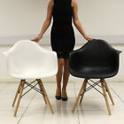 MMILO DINING CHAIRS EIFFEL INSPIRED CONTEMPORARY PLASTIC SEAT SOLID WOODEN LEGS