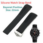 Black Silicone Watch Strap Band Folding Clasp For 22mm Bayonet Position Watch