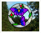 Round Butterflies stained glass effect window cling