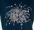 FIREWORKS CELEBRATION   Rhinestones embellished tee shirt -  NWT - PLUS