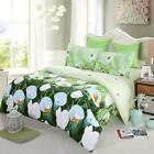 4pcs 3D Bedding Set White Tulip Bed Sheet Cover Pillowcases Queen/King Size M7W2