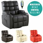 REGAL LEATHER RECLINER CHAIR ROCKING MASSAGE SWIVEL HEATED GAMING SOFA